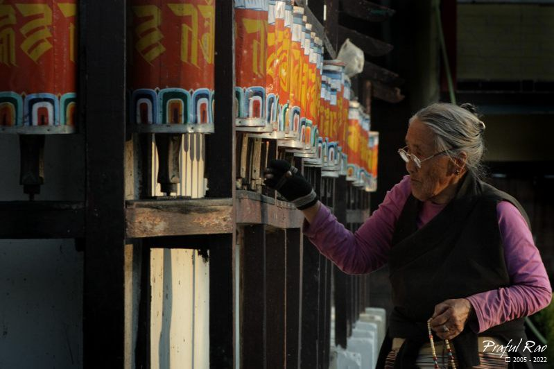 Elderly devotee at a monastery