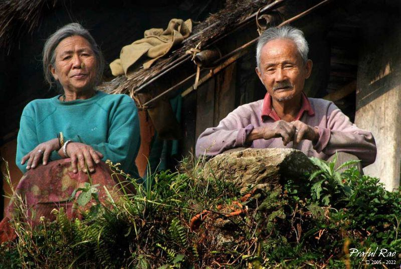 Elderly village couple