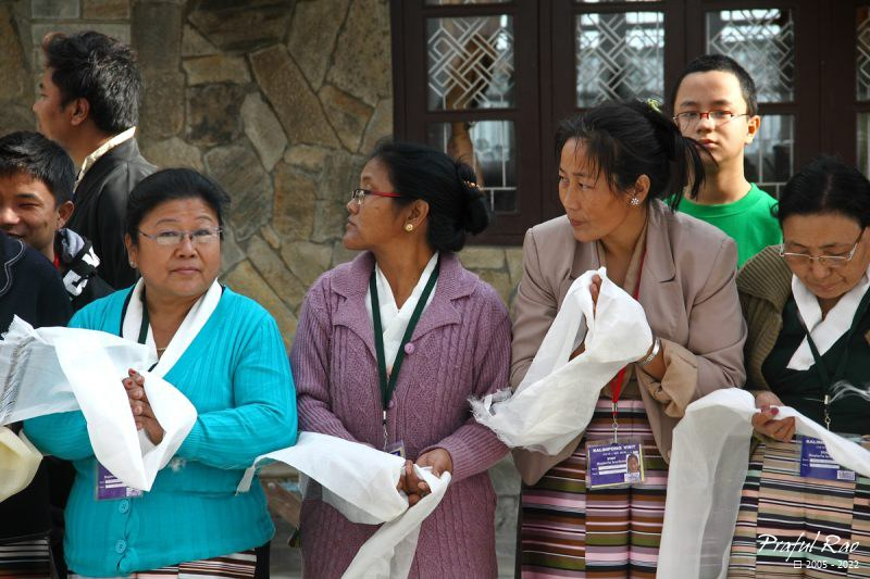 Tibetan ladies anxiously waiting